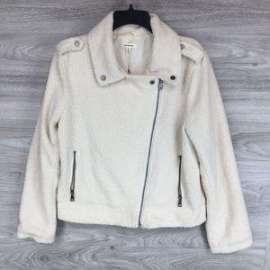 Max Studio Faux Shearling Zip Moto Jacket